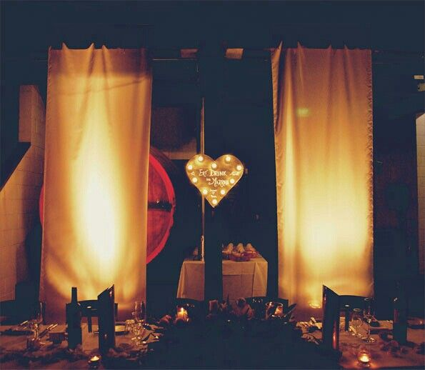 My DIY Eat, drink and be married wooden marquee light and silk white 10 foot backdrops with background stage lights. Hope Estate wedding.