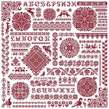 Abundancy Sampler kruissteek merklap van Clorami Designs. www.clorami-designs.be