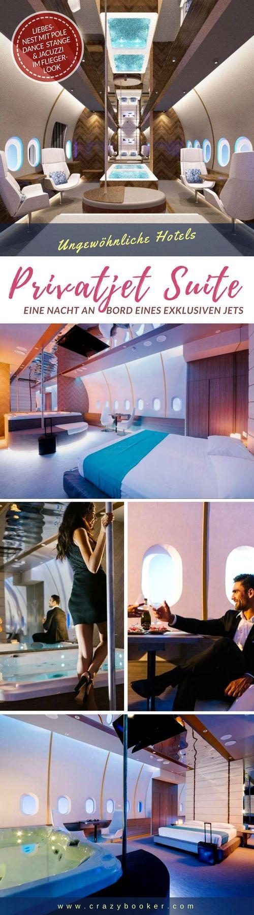 Privatjet Suite Themenzimmer   Dieses ungewöhnliche Hotelzimmer ist dem Passagier-Kabine eines luxuriösen Flugzeugs nachempfunden und kann mit Pool Dance Stange, drehbaren Clubsesseln und einem Jacuzzi für private 'Höhenflüge' gebucht werden. Das perfekte Liebesnest für alle, die gerne auf dem Teppich bleiben, aber schon immer mal eine exklusive Nacht an Bord eines Privatjets verbringen wollten   Website besuchen oder Pinnwand folgen und weitere Hotelzimmer zum Abheben entdecken! #jet #hotel