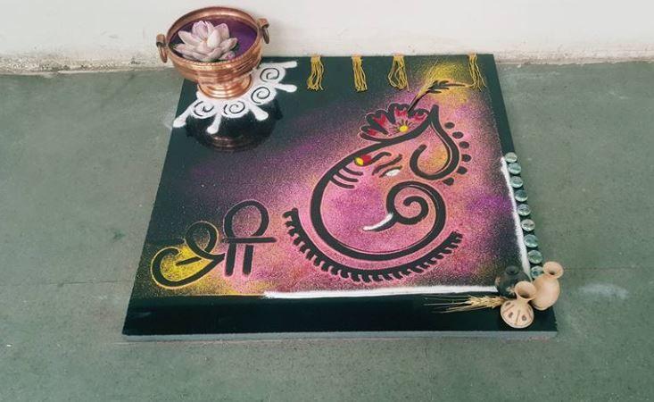 Diwali Easy Ganesh Rangoli Designs 2017