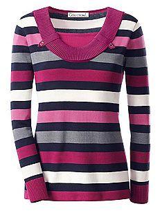 Collection L Shawl Collar Stripe Jumper