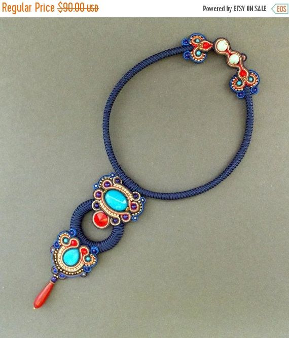 Check out this item in my Etsy shop https://www.etsy.com/listing/466286903/on-sale-dark-blue-soutache-necklace-with