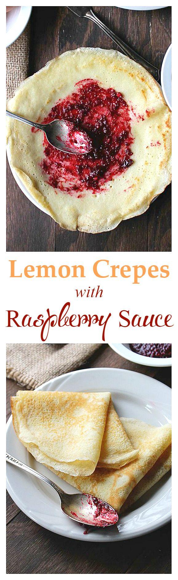 Lemon Crepes with Raspberry Sauce - Sweet, warm raspberry sauce over fluffy, citrusy crepes.