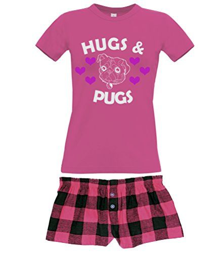 Fuchsia Women's T-Shirt & Fuchsia Buffalo Shorts Pyjama Set 'HUGS & PUGS'