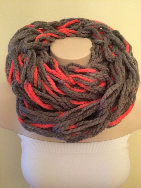 iScarf  Chunky Arm Knit Infinity Scarf  Grey/Neon by iHooked