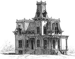 Second Empire Style: Mansard Roof, decorative iron cresting on roof lines, tower.