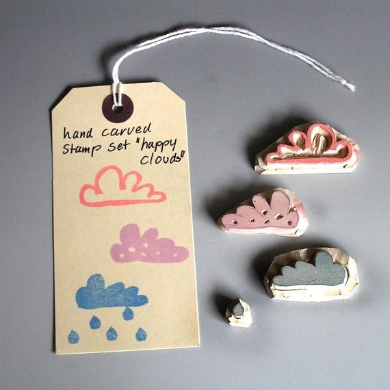 happy clouds hand carved stamp set via Etsy