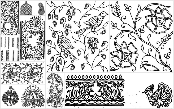 Basic motifs in chikankari white thread embroidery