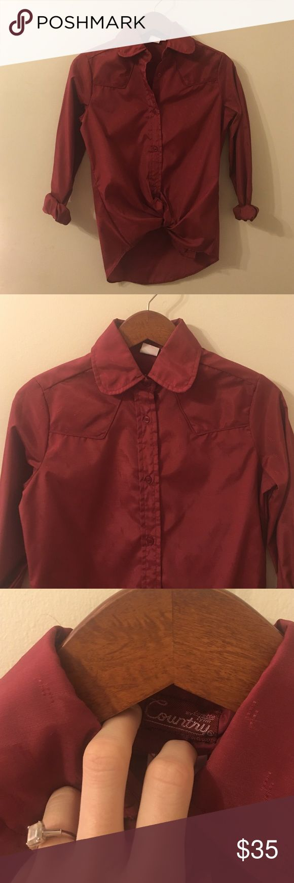 Small Western Blouse, Country by Loretta Lynn Size Small Burgundy/Red Button Up Western Blouse, Long-Sleeve 🌵🌸🌵 Brand is Country by Loretta Lynn. Super rare, authentic. Free People Tops Blouses