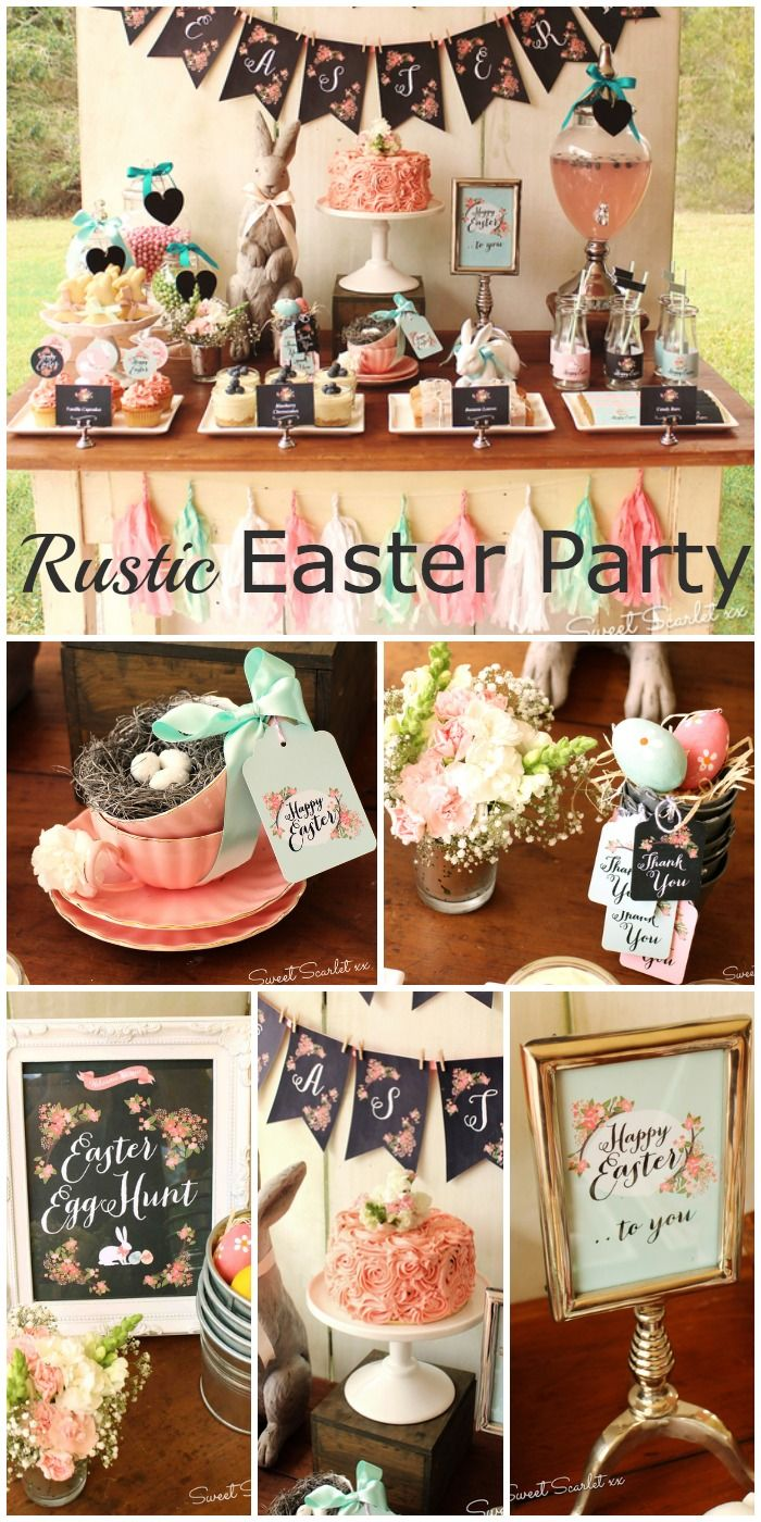 Gorgeous Easter party dessert table done in a rustic, chalkboard style! See more party ideas at CatchMyParty.com.
