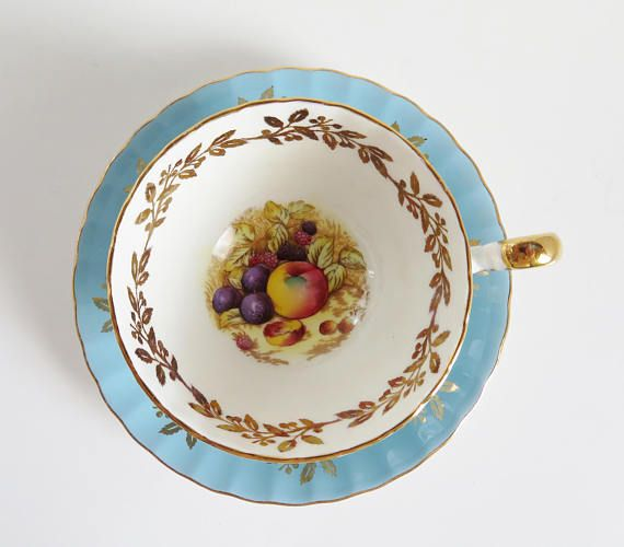 Blue Aynsley Teacup and Saucer Vintage Tea Cup and Saucer