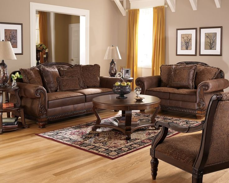 Cozy Living Room Furniture With Traditional Leather Sectional Sofa ...