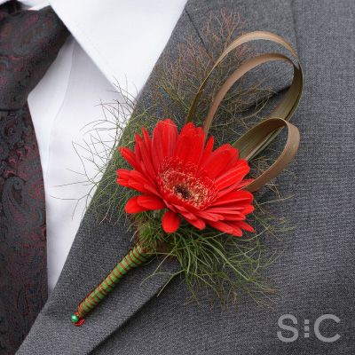 Red Mini Gerbera boutonniere