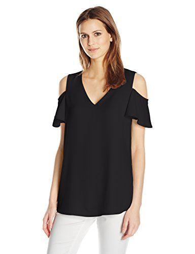 Calvin Klein Women's V-Neck Cold Shoulder Flutter Top - http://www.darrenblogs.com/2017/03/calvin-klein-womens-v-neck-cold-shoulder-flutter-top/