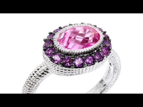 To buy now click on the link: http://shrsl.com/?~3fas This #Judith #Ripka Pink #Corundum with #Amethyst #Ring features sterling #silver #ring with #pink center #stone and #purple #amethyst accents.