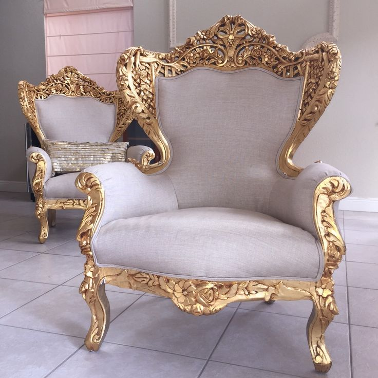 Antique French Rococo Chairs Shabby Chic Gold Leaf Gilded Beige Upholstering Handmade Arm Chair Rest Big Chair Carved Flower Floral by SittinPrettyByMyleen on Etsy https://www.etsy.com/listing/225968133/antique-french-rococo-chairs-shabby-chic