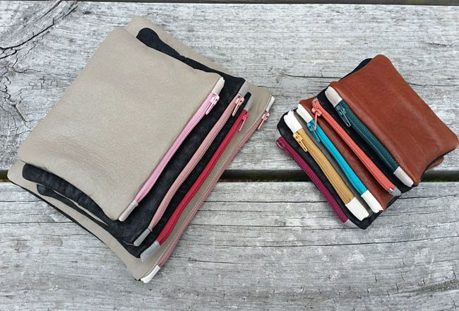 DIY PROJECT | Recycled Leather Zip Purse With Zip Tabs -  Free step by step how to guide