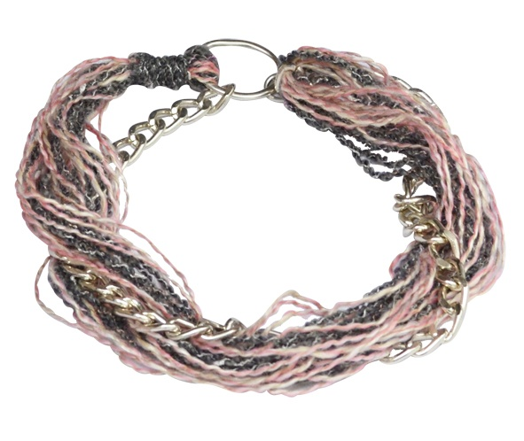 """Necklace """"Rock"""" gray-pink  Chain Faux Necklace with gray - pink thread in between. Worn in 2 ways. Short or long."""
