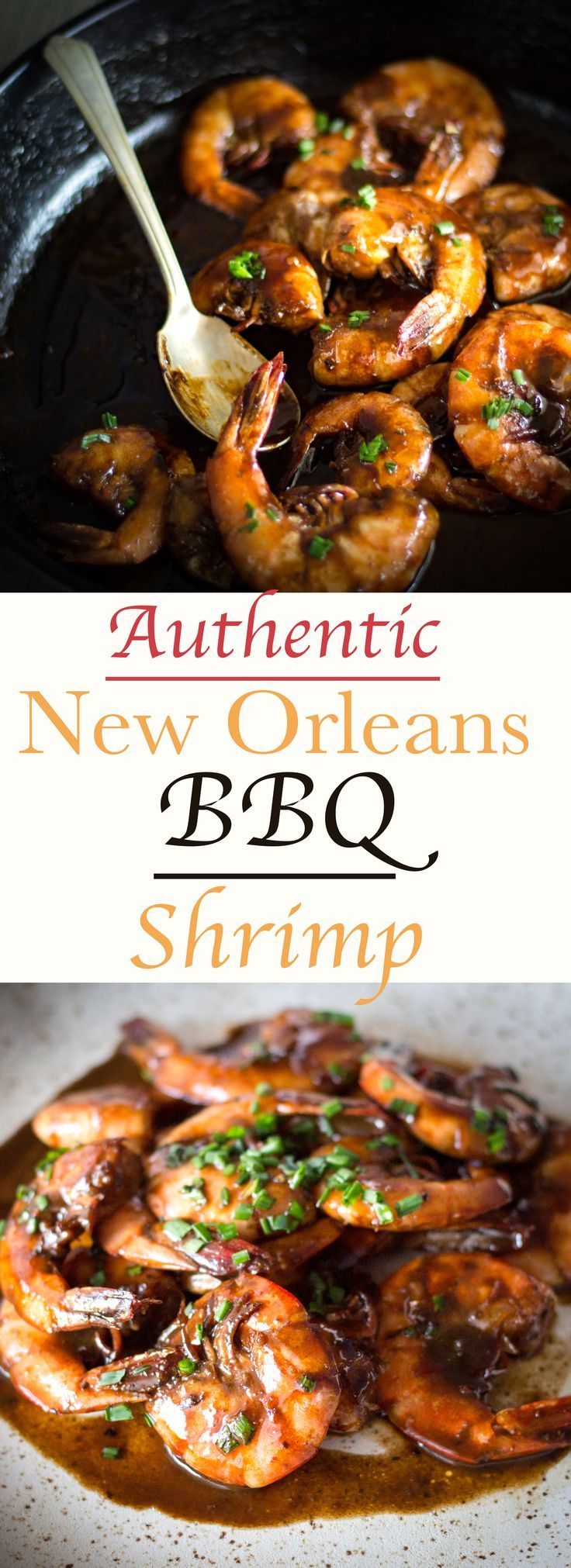 New Orleans BBQ Shrimp! Creamy and buttery sauce to coat sweet juicy shrimp! Soak up the liquid with some crusty bread or biscuits!