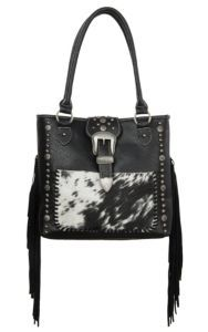 Trinity Ranch Black with Calf Hair and Fringe Concealed Carry Tote | Cavender's