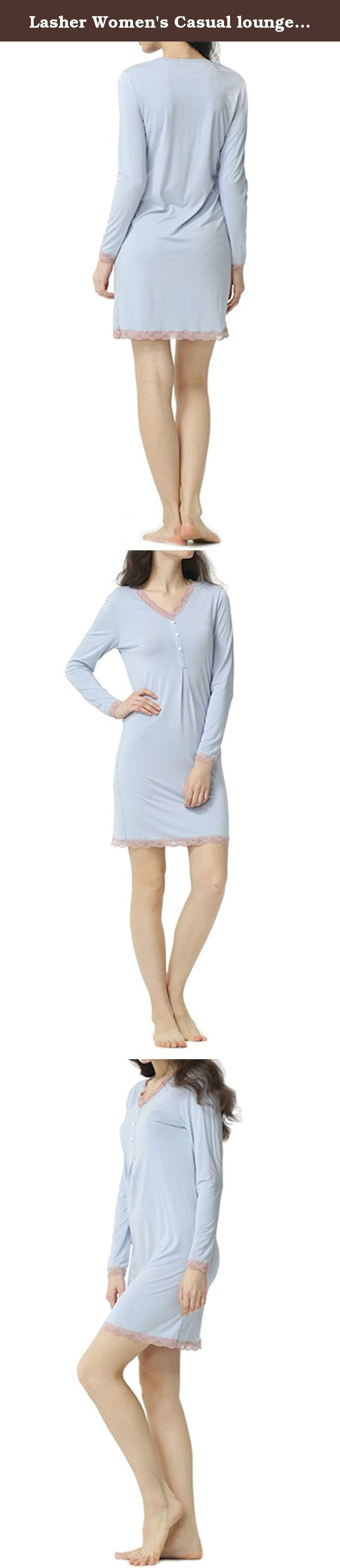 "Lasher Women's Casual loungewear Lace Knit Cotton Nightgown Cute Sleepwear Dress Blue M. Size Measurement: Size S(Asian size M): Bust:33.1"",Waist:30.7"",Length:34.6"" Size M(Asian size L):Bust:34.6"",Waist:32.2"",Length:35.4"" Size L(Asian size XL):Bust:36.2"",Waist:33.8"",Length:36.2"" Size XL(Asian size XXL):Bust:37.8"",Waist:35.4"",Length:37"" Size may be 2cm/1 inch inaccuracy due to hand measure. If you are not sure, please contact us freely! Package Content:1 x Women Sexy Sleepwear Notice: The..."
