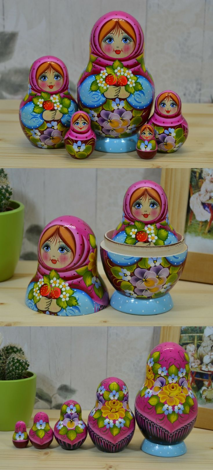 cute babushka doll in pink shawl