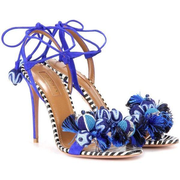 Aquazzura Tropicana 105 Suede Sandals ($665) ❤ liked on Polyvore featuring shoes, sandals, heels, blue, blue suede shoes, blue sandals, blue heeled sandals, suede shoes and aquazzura