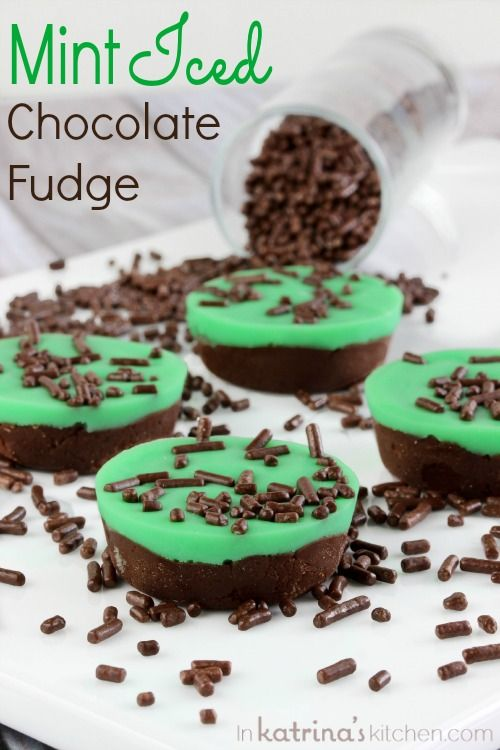 Mint Iced Chocolate Fudge Recipe- perfect for St. Patrick's Day