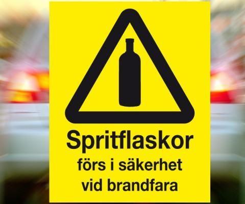 """Klisterdekal """"Spritflaskor förs i säkerhet vid brandfara"""""""