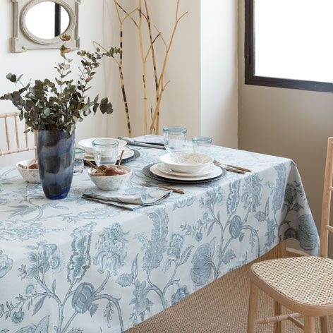 Mantel y servilleta algod n estampado buc lico mesas - Manteles de mesa de comedor ...
