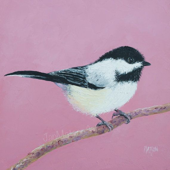 Bird painting, CHICKADEE, United States bird, living room art, cottage decor, country style.