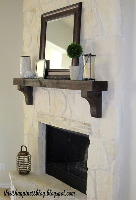 Painted stone fireplace dark mantel home inspiration for Dark fireplace mantel