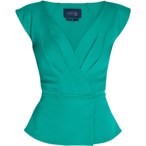SAFIYAA Deep V neck Top featuring polyvore fashion clothing tops blouses shirts blusas blue shirt peplum tops ruched shirt shirred top shirts & tops