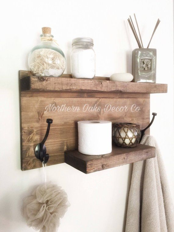 stunning Brushed Nickel Bathroom Shelving Unit Part - 20: This hand made bathroom shelf unit is the perfect space saver and decor  piece for any bathroom! It features two shelves and two hooks. We have  brushed ...