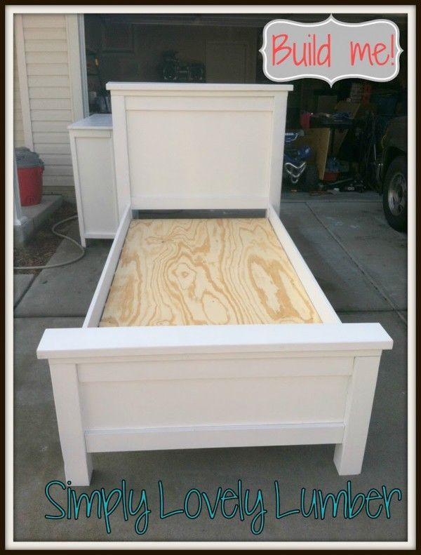 simply lovely lumber diy farmhouse bed complete with pictures of the building process diy twin bed framegirl - Wooden Twin Bed Frame