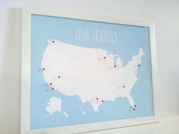 US Map With Pins, DIY Kit, United States Push Pin Map, Wall Art Print, Foam Core, Pinnable USA Travel Board, Paper Anniversary Gift