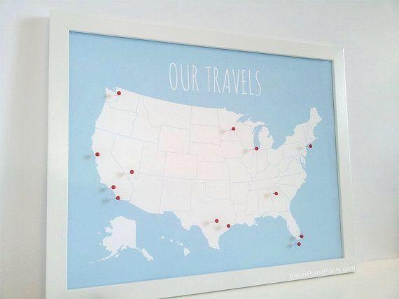 US-Karte mit Pins DIY Kit USA Push Pin Karte von PaperPlanePrints