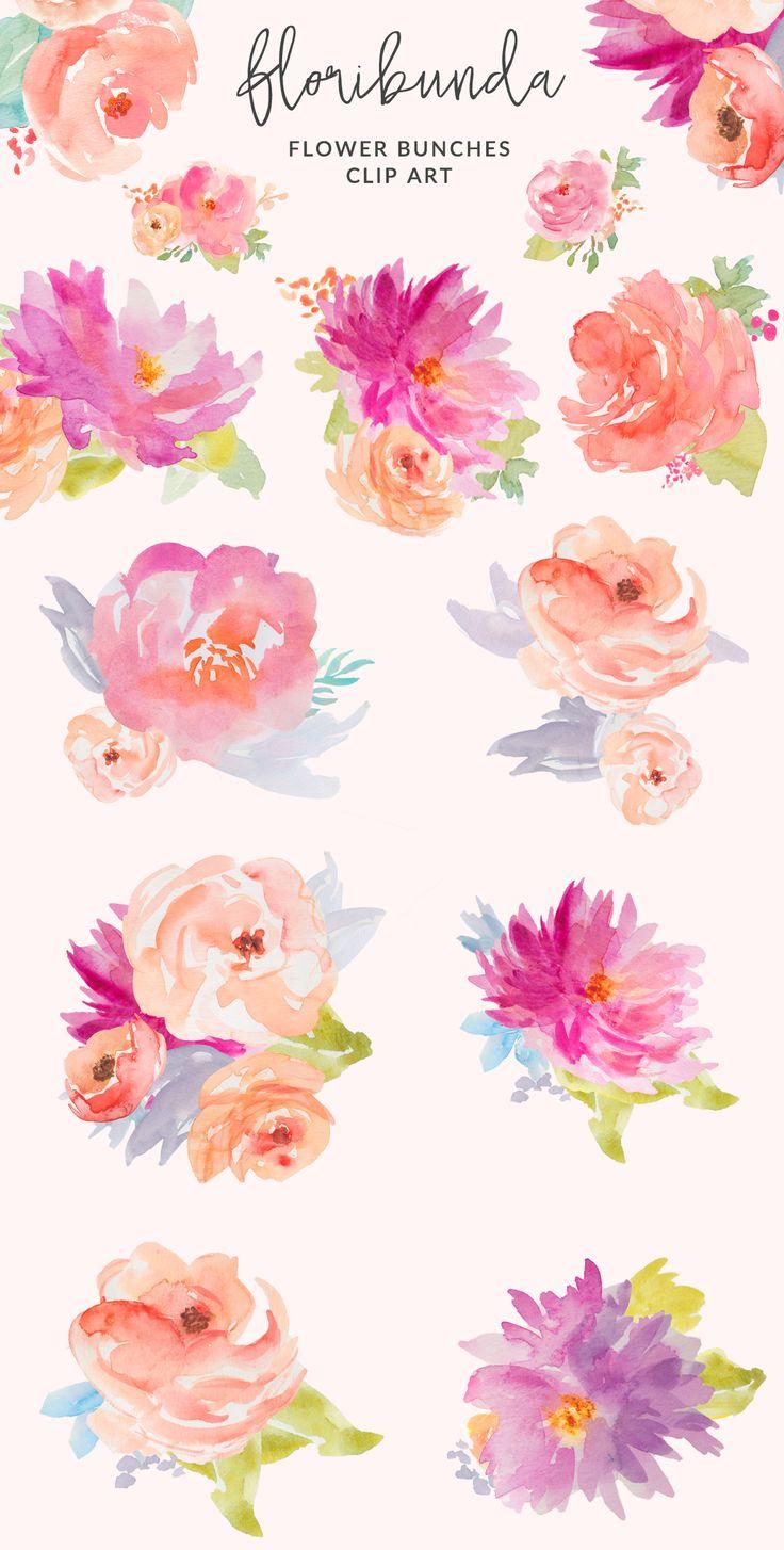 Watercolor Floral Clip Art Design. Watercolor Flower Illustration Clip Art Artwork   angiemakes