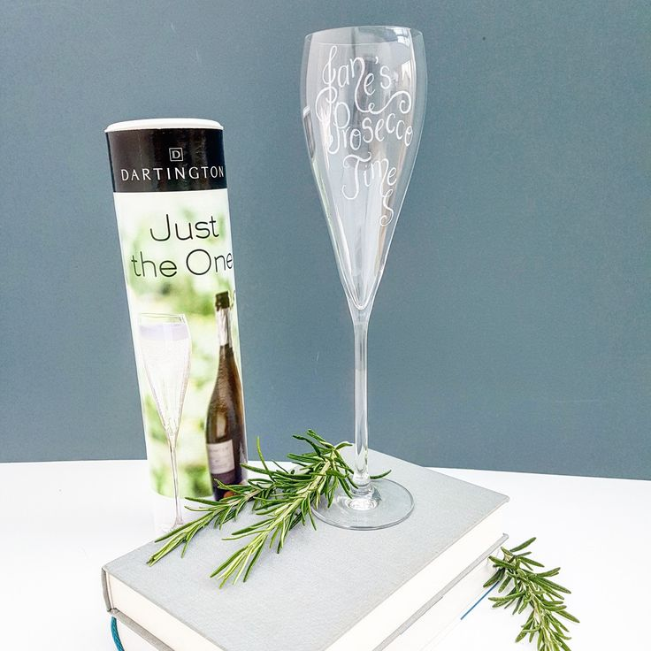 Hand engraved Dartington Prosecco glass, gift boxed, and with your own special message
