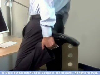 Standing Thigh Stretch by mayoclinic: Check out the link for the video. #Office_Stretches #Standing_Thigh_Stretch #mayoclinic