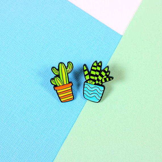 Blue & Orange Cactus Duo Set - soft enamel pin set, with butterfly clutch on…