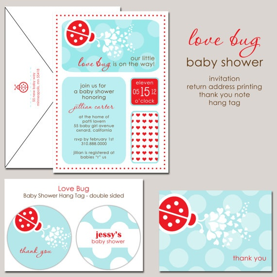 Little Love Bug in Aqua and Red Baby Shower by paperimpressions, $25.00