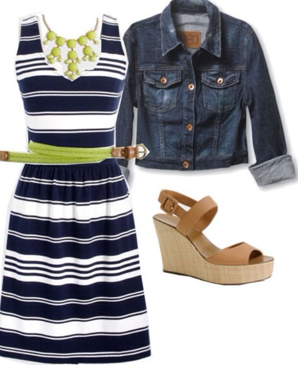 Love the navy stripe dress. (I like Navy, I like stripes). Love it paired with jean jacket (I own one!) Also like that it has thicker straps to hide bra straps.