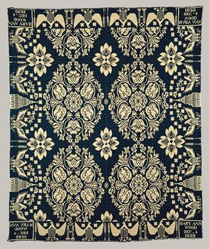 Woven coverlet, 1828  Workshop of James Alexander (American, 1770–1870)  Little Britain, Orange County, New York  Cotton and wool