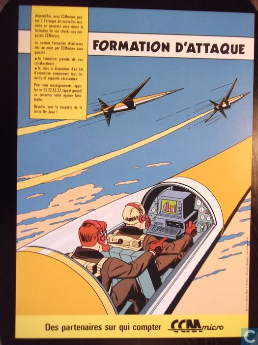 Ex-Libris Blake and Mortimer piloting a 'Swordfish' in attack formation...