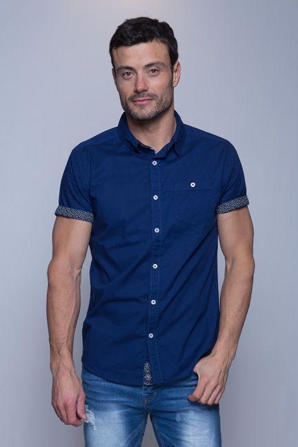 Korte Mouw Overhemd Mannen.Marine Blauw Effen Heren Overhemd Van Het Topmerk Mezaguz Het