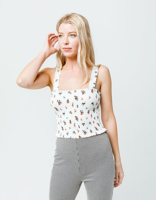 09267373dcd2 IVY & MAIN Floral Smocked Womens Tank Top   Tops in 2019   Tops ...
