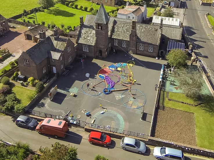 Lazonby School aerial artwork for the Aviva Tour of Britain September 10 2015