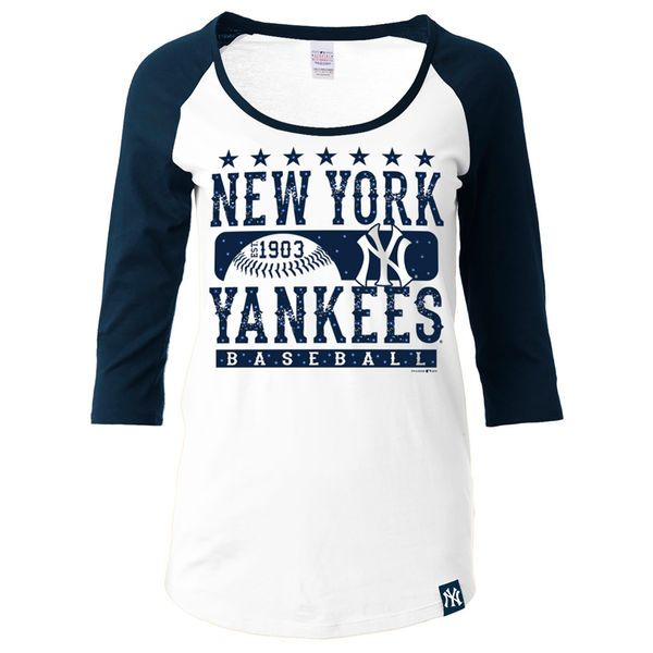 ... Womens New York Yankees Ocean by New Era WhiteNavy Athletic Baby Jersey  T-Shirt ... ed9ce734e64