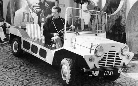"""The Dream car from """"The Prisoner"""" with Patrick McGoohan at the wheel. Mini Moke."""